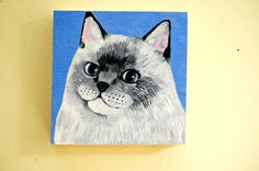 cat original painting on wood by QueenOfTheCats on Etsy.