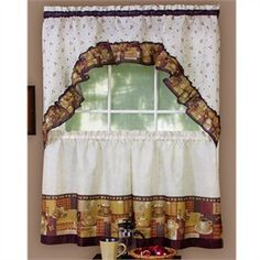 Good Coffee House Themed Kitchen Decor | Coffee Kitchen Curtain Tier And Swag Set