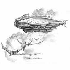 Here's a great #airship #pencil #drawing by artist #TomKidd! Watch as the #dirigible releases several #glider #acrobats who then provide lookers on with amazing feats of #aerial #acrobatics! This is all part of Tom's #Gnemo story which you can find more about at http://ift.tt/1R1C0GC.  This picture was originally posted by @a_l_montague who seems to post lots of Tom Kidd's #artwork. This seems promising as Tom has created a lot of great airship #illustrations! If you like this be sure to…