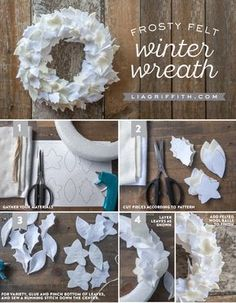 DIY Felt Winter Wreath Tutorial from MIchaelsMakers Lia Griffith Felt Wreath, Wreath Crafts, Diy Wreath, Christmas Projects, Felt Crafts, Holiday Crafts, Christmas Time, Yarn Wreaths, Tulle Wreath