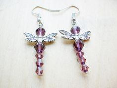 Winered dragonfly earrings made by Martina Gyöngy