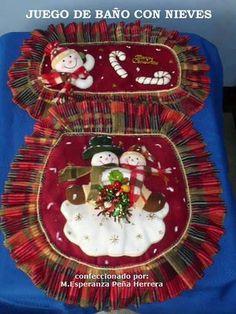 para el baño DOS HOMBRES NIEVE 1 ROJO Christmas Sewing, Christmas Art, Xmas, Christmas Ornaments, Christmas Bathroom Sets, Holiday Wreaths, Holiday Decor, Felt Christmas Decorations, Favorite Holiday