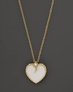 Roberto Coin 18K Yellow Gold Diamond and White Enamel Heart Necklace, 18"