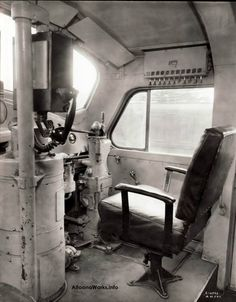 Here's a look at the engineer's controls in PRR 9500, an EMD F3A..  Note the window handle to roll up the window!