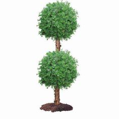 Tall Outdoor Artificial Double Boxwood Ball Topiary w/ Natural Trunk : Multiple Sizes from Artificial Plants and Trees