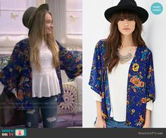Maya's blue floral kimono on Girl Meets World.  Outfit Details: http://wornontv.net/49926/ #GirlMeetsWorld