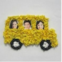 School Bus Made With Tissue Paper, Glue, and Photos - Great for Pre-K Complete's Back to School Theme! Pinned by Pre-K Complete - follow us on our blog, FB, Twitter, & Google Plus!
