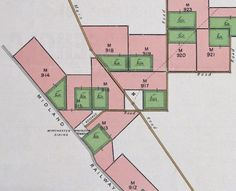 Farms at Winchester. Each block came with about one third of its acreage cleared - shown in green. To prevent the regrowth of trees on unsold farms the Company grew crops on them. When the farm was sold the buyer was charged for the cost of the crop but then made the profit after harvest.