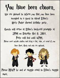 PRINTABLE Harry Potter Invitation PDF Harry potter invitations