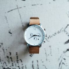 The New MVMT Chrono. White/Caramel Leather Watch.