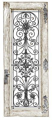 Stock Image - Fancy Iron and Wood Door - Graphics Fairy