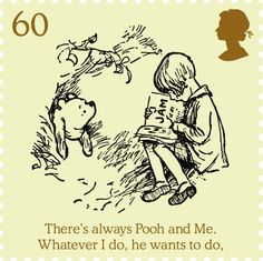 60p Christopher Robin reads to Winnie-the-Pooh. Pooh eats too much on a visit to Rabbit's burrow and is too fat to get out of the hole. Christopher Robin reads to him while he waits to slim down, from 'Pooh goes visiting' in Winnie-the-Pooh.
