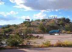 Abandoned water park. Kinda cool, kinda creepy. rock a hula in california dessert off interstate 5 on the way to vegas