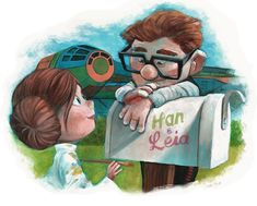 Florida-based, British artist James Hance has wonderfully reimagined a mashup between Pixar animated film UP and sci-fi film Star Wars.     In his adorable yet endearing illustrations, Carl and Ellie (characters of UP) are featured as Han Solo and Princes Leia, and Russell (the boy who's a Wilderness Explorer in UP) as Luke Sywalker—the Millennium Falcon also get balloons (like Carl's house).