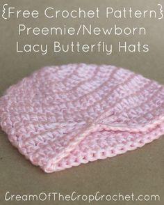 Preemie Newborn Lacy Butterfly Hat Crochet Pattern | Cream Of The Crop Crochet