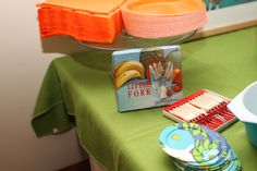 Vintage reusable party supplies...and disposable plates!
