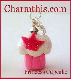 Polymer Clay Pink Princess Cupcake Charm by CharmthisClayCharms, $3.00