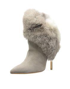 Schutz Dominique Black Suede Knee High Heel Pointed Toe Rabbit Fur Trim Boots