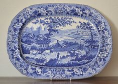 """Swansea pottery """"Ladies of Llangollen"""" meat plate Transfer printed pottery meat plate.  Printed mark to reverse """"BB&I Opaque China""""(Baker Bevin & Irwin who were the owners of the Glamorgan pottery)  Glamorgan pottery Swansea c1820"""