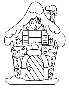 Colored page Gingerbread house colored by yuan of the category Parties Christmas House Colouring Pages, Coloring Book Pages, Coloring Sheets, Christmas Colors, Christmas Art, Hansel Y Gretel, Illustration Noel, Christmas Gingerbread, Gingerbread Houses