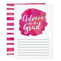 Pink Watercolor Advice for the Grad Card