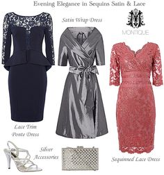 Montique cocktail evening dresses lace sequinned and satin 50's style wrap dress, stretch jersey peplum dress in navy and a shimmering sequin and lace bodycon