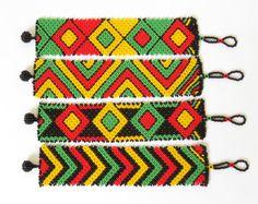 African Zulu beaded flat bracelet large  by GoneRuralSafariCurio