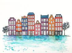 Original Amsterdam Watercolor painting Travel by NiksPaintGallery