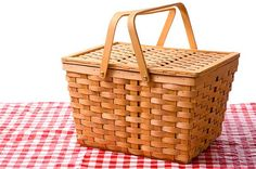 Each child receives a small picnic basket filled with her lunch.