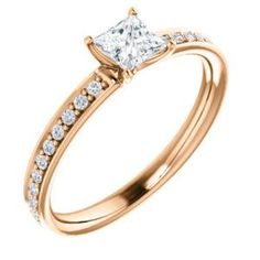 Cubic Zirconia Engagement Ring- The Helena (Customizable Classic Prong-set Princess Cut Design with Pavé Band)