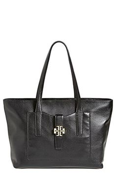 Tory Burch Plaque Tote Handbag Purse Black Leather Bag Gold Hardware New