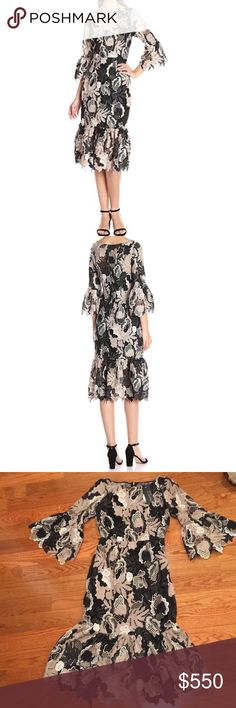 Tracy Reese Black Label Lace Dress Brand new with tags. Tracy Reese Black Label flounced midi dress. Beautiful dress, hits a few inches below the knee. Three quarter sleeves. Nice, thick, quality lace. Regularly $700. Size 0 Tracy Reese Dresses Midi