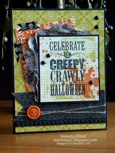 aestamps a latte: Halloween card using Halloween Bash and Witches' Brew DSP