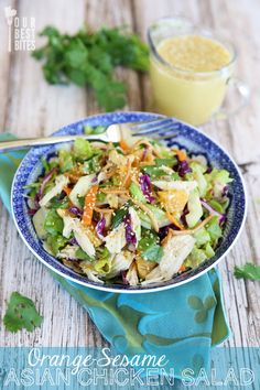 Orange Sesame Asian Chicken Salad. So sweet, tangy, and crunchy. One of my favorites!