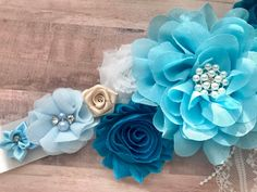 Teal Aqua Cream Blue Maternity Sash Boy Baby Blue Pregnancy | Etsy Baby Shower Gender Reveal, Baby Boy Shower, Maternity Sash, Reveal Parties, Fabric Flowers, Photo Props, Special Day, Baby Blue, Color Mixing