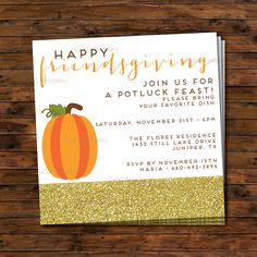 Friendsgiving Thanksgiving Potluck Dinner Party Invitation, Printable File, Square, Pumpkin and Gold Glitter, Custom, Moden Motif - pinned by pin4etsy.com