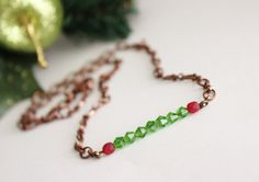 Green Crystal Beads. Red Frosted Beads. by JennyMoralesJewelry