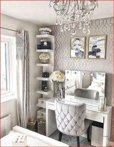 Dressing Room Decor, Dressing Room Design, Dressing Table Mirror, Stylish Bedroom, Modern Bedroom, Grey Bedroom Design, Modern Girls Rooms, Romantic Bedroom Design, Grey Bedrooms