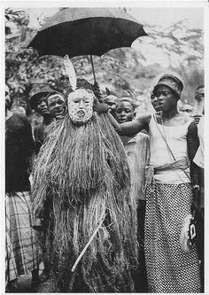 Ibo Masquerades    Ikwerri Ibo. Rumuji village. Owu masquerade. Mask called 'Ajibodo'  photo by Dr G.I.Jones 1931