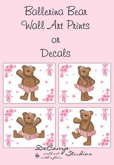 Pink Ballerina Bear 8x10 Wall Art Prints or Wall Decals for baby girl ballet nursery and children's dance room decor #decampstudios