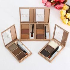 3 Colors Waterproof Lasting Eyebrow Palette Makeup Shading Powder Brush Mirror Set