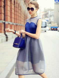 Blue Contrast Sheer Panel Sleeveless Midi Skater Dress | Choies