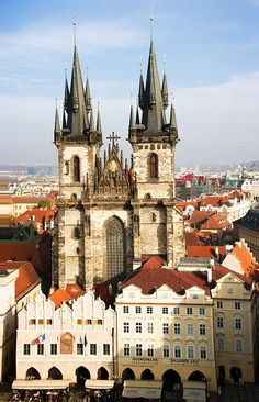 The Tyn Church in the old town square (Stare Mesto) in the centre of Prague. The gothic church was begun in the 14th century.