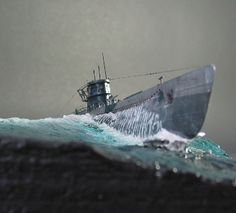 U-Boot Typ VII/D Scale Model Ships, Scale Models, Chevrolet Corvette, Boat Pics, Model Sailing Ships, German Submarines, Water Effect, Boat Painting, Military Modelling