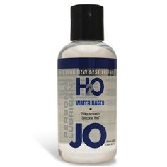 System JO H2O Lubricant - 4 oz $28.99  Height: 6.000Length: 1.500Diameter: 1.500JO H2O Water-Based Lubricant has all the benefits of the Original System JO Personal Lubricant, similar in feel and viscosity, yet contains no oil, wax, or Silicone. JO H2O is 100% latex safe and manufactured under strict U.S. FDA guidelines. JO H2O has a silky, smooth feeling, never sticky or tacky and is Vitamin E enriched. It is long lasting, fragrance free, and washes off easily.,