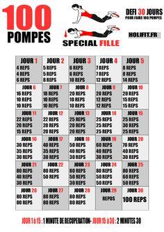 Ce défi de 30 jours vous propose une progression pour réaliser 100 pompes sur les genoux en une seule série à la fin du challenge !