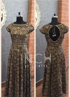 Inch by Chintya Salwar Designs, Kalamkari Designs, Blouse Designs, Dress Designs, Choli Dress, Anarkali Dress, Anarkali Suits, Silk Dress, Indian Designer Outfits