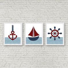 Boys Room /Nursery Wall Art Set Of 3 - Nautical Wall Decor - Anchor Art Print- Sailboat / Ship Printable - Ship's Steer Print Nautical Nursery Decor, Woodland Nursery Decor, Nursery Wall Art, Nautical Prints, Anchor Art, Baby Canvas, Animal Nursery, Wall Art Sets, Printable Wall Art