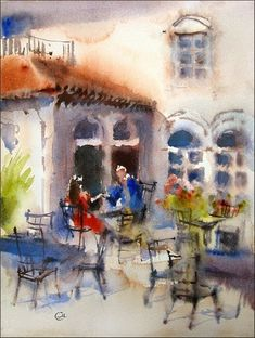 A warm sunny afternoon is a perfect time to sit in a little cafe, enjoying a pleasant talk and a cup of cappuccino. 12''x9'' on Arches wate...
