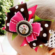 Little Sister Hair Bow - Owls Pink Brown Green Stacked Hairbow - for girls, toddlers, and babies. $7.50, via Etsy.